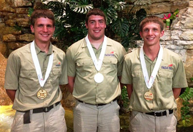 Ferris State University's Automated Manufacturing Technology team of, from left, Ted Wilcome, Shane Ferris and Brandon White earned gold medals at the 2013 SkillsUSA Championships.