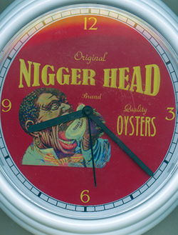 Nigger head ad on clock