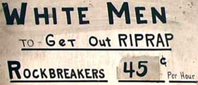 white men rockbreakers employment sign