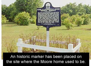 historic marker at Moore home