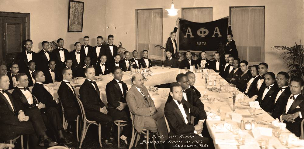 1932 Alpha Phi Alpha banquet. Belford Lawson is sitting to the left of W.E.B. DuBois                            (DuBois is in the light suit).