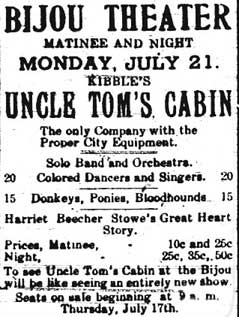 Poster for Bijou Theater for Uncle Tom's Cabin play.