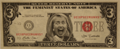 Hillary Clinton on a three dollar bill