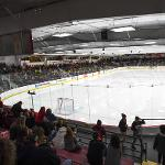 A VIEW FROM INSIDE THE EWIGLEBEN ICE ARENA.