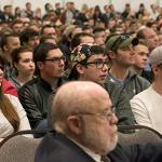 AN OVERFLOW CROWD JAMMED THE UNIVERSITY CENTER BALLROOM FOR SHAPIRO'S PRESENTATION.