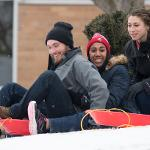 THESE STUDENTS BEAT THE SNOW MELT WITH SOME LAST MINUTE SLEDDING.