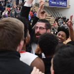 COACH ANDY BRONKEMA AND THE BULLDOGS CELEBRATE THEIR GLIAC TITLE.