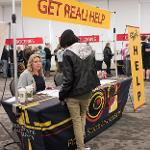 """FERRIS STUDENTS COLLECTED INFORMATION ON PREPARING FOR THEIR FUTURES AT THE """"GET REAL"""" EVENT."""