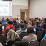 STUDENTS, FACULTY AND STAFF WERE INVITED TO IRVING'S PRESENTATION.