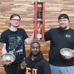SIGMA PI TOOK HOME THE TOP PRIZE FOR THE WINGS EATING CONTEST.