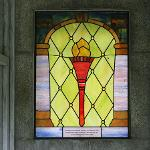 VIEW OF THE STAINED GLASS WINDOW IN THE FERRIS MAUSOLEUM