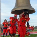 THE BULLDOGS RING THE VICTORY BELL AFTER ANOTHER WIN AT TOP TAGGART FIELD.
