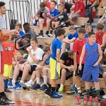 CURRENT AND FORMER BULLDOG BASKETBALL PLAYERS ASSIST AT THE SUMMER CAMPS.