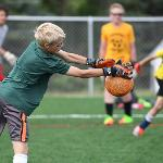 SOCCER CAMPERS ENJOY A COLLEGE COACHING ENVIRONMENT AND TRAINING SESSIONS.