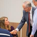 PRESIDENT EISLER VISITS WITH NEW FACULTY MEMBERS