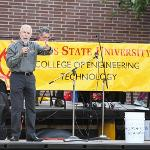 DEAN LARRY SCHULT GREETS STUDENTS ENROLLED IN THE COLLEGE OF ENGINEERING TECHNOLOGY.