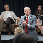 PRESIDENT DAVID EISLER EMPHASIZED THE VALUE OF INCLUSION AND FERRIS STATE'S CORE VALUE OF DIVERSITY.