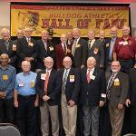 THE UNDEFEATED 1968 FOOTBALL TEAM WAS INDUCTED INTO THE HALL OF FAME.