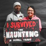 """STUDENTS TOOK IN THE THRILLS AT """"THE HAUNTING IN MERRILL-TRAVIS"""" HALLOWEEN AFFAIR."""