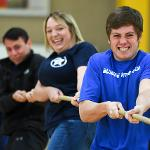 THE BLUE LINE FITNESS CLUB HELD A TUG-O-WAR. . .