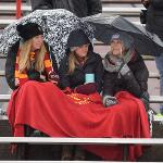 FSU FANS BRAVED A COLD, RAINY DAY TO CHEER THE BULLDOGS TO VICTORY.