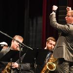 MATT MORESI DIRECTS THE JAZZ BAND.