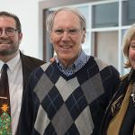SEDERBURG, FSU PRESIDENT FROM 1994-2003, VISITS WITH JEREMY MISHLER AND CARLA MILLER FROM THE UNIVERSITY ADVANCEMENT AND MARKETING STAFF.