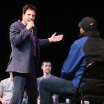 HYPNOTIST TOM DELUCA RETURNED TO FERRIS AND DAZZLED THE CROWD AT WILLIAMS AUDITORIUM.