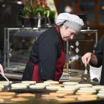 """""""PANCAKES WITH THE PRESIDENT"""" OFFERED HUNGRY STUDENTS A LATE NIGHT STUDY BREAK DURING EXAM WEEK."""