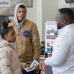 MICHAEL WADE OF MULTICULTURAL STUDENT SERVICES WAS ON HAND TO ADVISE STUDENTS.