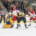 THE BULLDOGS HAVE MOVED UP TO SIXTH PLACE IN THE WCHA STANDINGS.