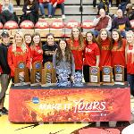 THE FSU VOLLEYBALL TEAM WAS RECOGNIZED DURING A BULLDOG BASKETBALL HALFTIME CEREMONY.