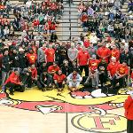 BULLDOG FOOTBALL'S NCAA QUARTERFINAL TEAM WAS HONORED DURING A BASKETBALL HALFTIME CEREMONY.