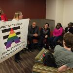 STUDENTS THANK PRESIDENT EISLER FOR HIS SUPPORT OF THE LGBTQ+ RESOURCE CENTER.