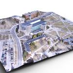 THIS ROUGH 3-D AERIAL CAMPUS SCENE WAS SHOT FROM THE FERRIS DRONE.