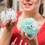 STUDENTS CREATED POCKET SIZED POM-POM PETS AT THE CLACS OFFICE.