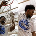 THE BULLDOGS CUT DOWN THE NETS AT WINK ARENA TO CELEBRATE THEIR CHAMPIONSHIP.