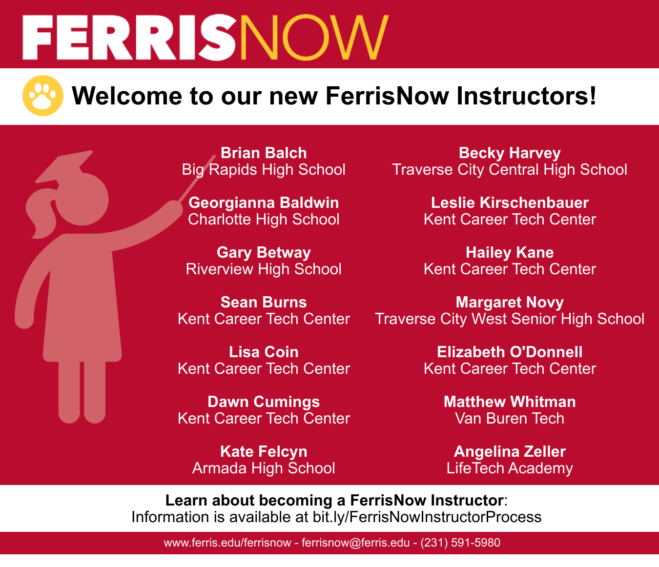 FerrisNow welcomes 13 new instructors