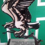 FSU EMPLOYEES WHO WERE KEY PLAYERS IN THE LAUNCHING OF THE WEB CAM WERE PRESENTED WITH OSPREY STATUETTES.