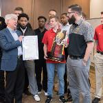 GOV. SNYDER STOPPED BY TO CONGRATULATE THE BULLDOGS' NCAA CHAMPIONSHIP BASKETBALL TEAM.