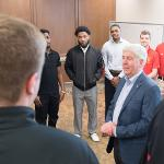 GOV. SNYDER VISITS WITH THE BULLDOG BASKETBALL TEAM