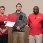 DYLAN RONEY (MIDDLE), AN ACADEMIC ALL-AMERICA FOOTBALL STANDOUT, WAS RECOGNIZED BY FSU'S ACADEMIC SENATE.