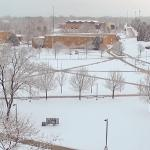 AN APRIL SNOWSTORM BLANKETED THE FERRIS CAMPUS.