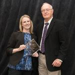 SARAH RESCOE RECEIVED THE ADJUNCT TEACHING EXCELLENCE AWARD.