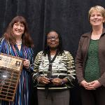 OLUKEMI FADAYOMI (center) WAS HONORED WITH THE HELEN GILLESPIE FERRIS DISTINGUISHED WOMAN LEADER AWARD.