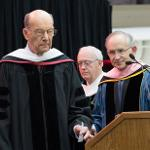 PHILANTHROPISTS ROBERT AND ELLEN THOMPSON RECEIVED HONORARY DOCTORATES OF HUMAN LETTERS.