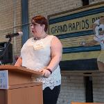 GRAND RAPIDS CC STUDENT HONOREE RACHELE SMITH WILL CONTINUE HER EDUCATION AT FERRIS STATE.
