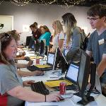 STUDENTS CHECK IN FOR ORIENTATION