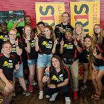 ORIENTATION LEADERS POSE FOR A GROUP SHOT AT A FALL 2018 ORIENTATION AND CLASS REGISTRATION SESSION.