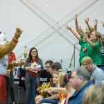 BRUTUS FIRES UP THE BIG CROWD AT THE EWIGLEBEN SPORTS ARENA.